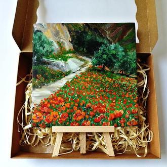 Миниатюра маслом маковое поле, Маленькая картина с маками, Красные маки картина
