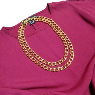 Цепь украшение 2в1: пояс-цепь / цепь на шею, золотистая