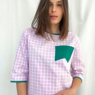 Топ-рубашка с геометричным карманом TopUp upcycling