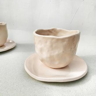 Чашка с блюдцем Мятый эффект 250мл