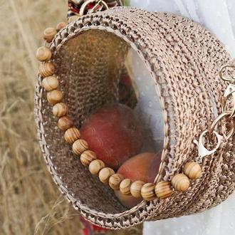 Плетенная сумка из рафии и акрила - Бали (Бежевая)
