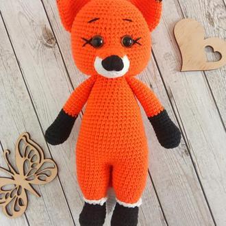 Мягкая игрушка лисичка, вязаная игрушка