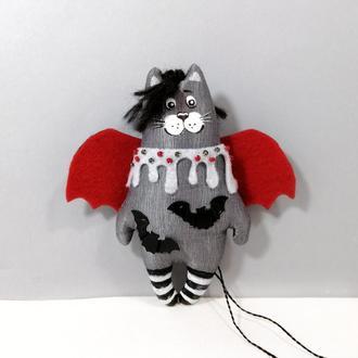 Кот летучая мышь Декор хеллоуин Котик Сладкий вампир Авторская маленькая игрушка котенок вампирчик