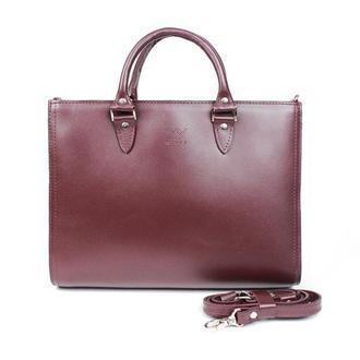 Женская кожаная сумка Fancy A4 бордовая