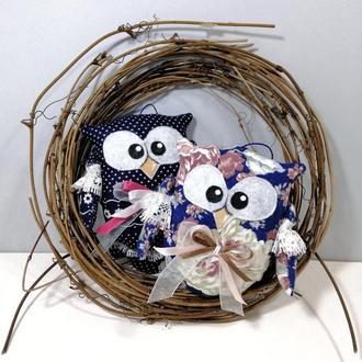 Ситцевая сова Светлый декор в комнату Маленькая елочная игрушка на новый год