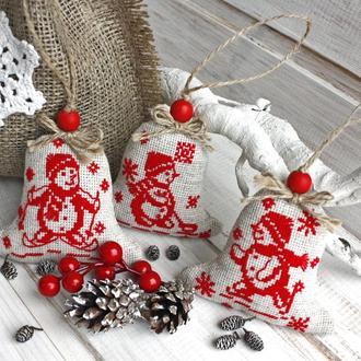 Набор елочных игрушек в стиле эко Украшения на елку текстильные с лавандой