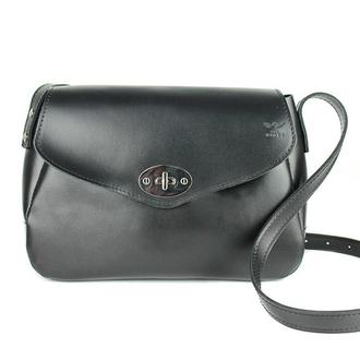Женская кожаная сумка Трапеция черная