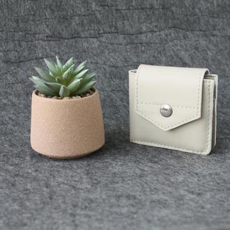 Кожаный кошелёк Urus кремово-белый