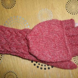 Перчатки-варежки-трансформеры из овечьей шерсти.