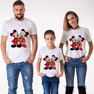 "ФП005561Футболки Фэмили Лук Family Look для всей семьи ""Микки и Минни Маусы (Новый Год)"" Push IT"