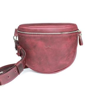 Кожаная сумка поясная-кроссбоди Vacation бордовая винтажная