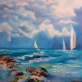 """Картина маслом """" Поющие струны моря""""."""