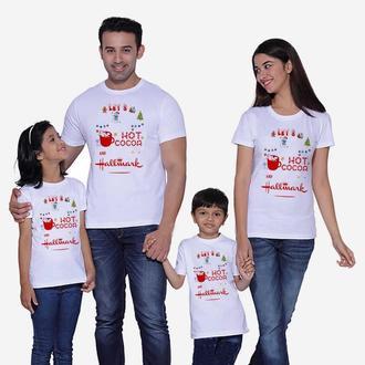 """ФП005593Футболки Фэмили Лук Family Look для всей семьи """"Hot cocoa"""" Push IT"""