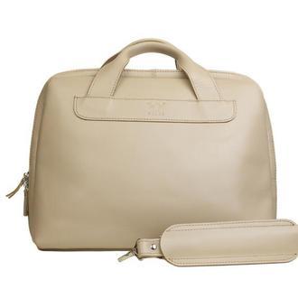 Кожаная деловая сумка Attache Briefcase бежевый
