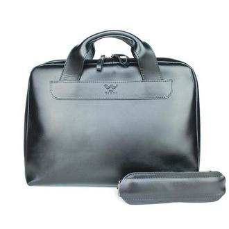 Кожаная деловая сумка Attache Briefcase черный