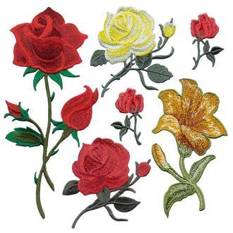 Аппликации на одежду Embroidery клеевые розы набор №9 (68618)