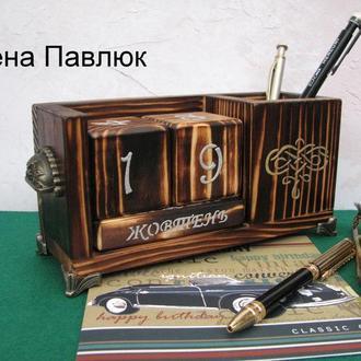 """Деревянный вечный календарь """"Стильный"""", подарок мужчине"""