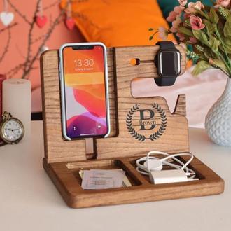 Подставка для телефона, деревянный органайзер в офис, подарок мужу на юбилей, подарок шефу