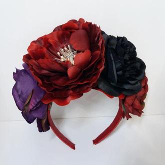 Красно-черный обруч с цветами, обруч из черных цветов, обруч на Хэллоуин