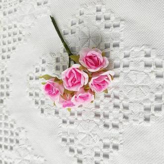 Міні трояндочки тканинні Ø 25 мм 6 шт