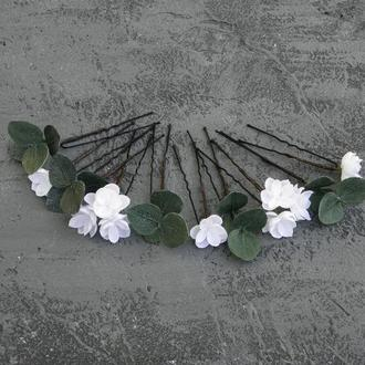 Весільні шпильки для волосся з білими квітами / Шпильки для нареченої
