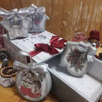 Набір новорічних ялинкових іграшок 'Ho-ho-ho!!!'