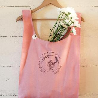 Сумка-пакет из льна для покупок