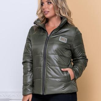 Куртка стильная батал nobilitas 50 - 56 хаки плащевка (мод. 20040)
