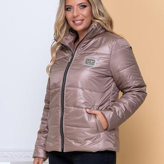 Куртка стильная батал nobilitas 50 - 56 мокко плащевка (мод. 20040)