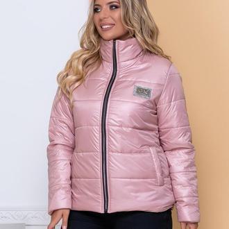 Куртка стильная батал nobilitas 50 - 56 пудра плащевка (мод. 20040)