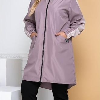 Плащ демисезонный женский батал nobilitas 50 - 56 фиолетовое плащевка (мод. 20037-2)