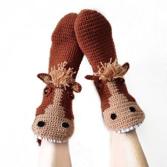 Вязаные носки-лошади размеры от 30 до 39