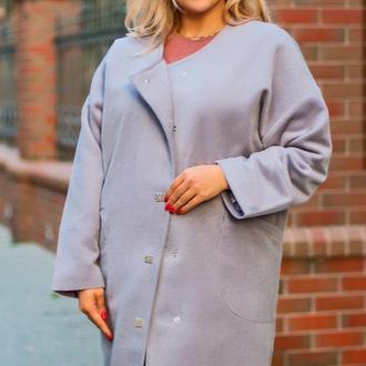 Пальто женское демисезонное батал nobilitas 54 - 60 серый итальянский кашемир (мод. 19055)