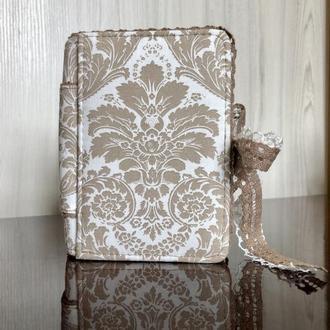Блокнот винтажный (дневник) с кружевом и тканевой обложкой. Уникальный подарок для девушки