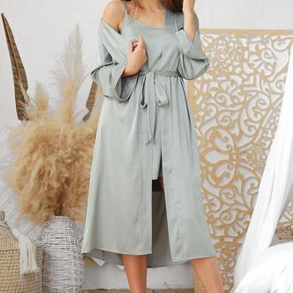 Женский халат оливкового за колено на запах из шелка армани