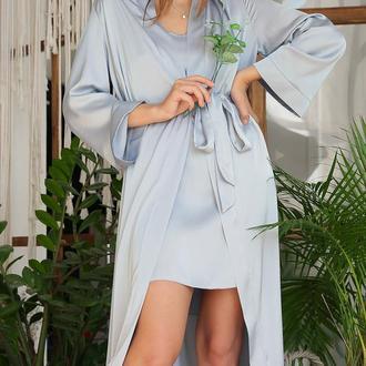 Женский серо-голубой халат за колено на запах из шелка армани