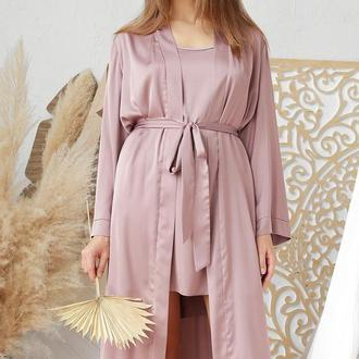 Женский лиловый халат за колено на запах из шелка армани
