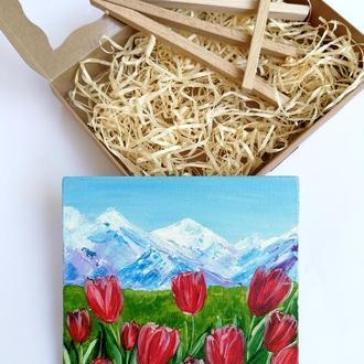 Картина миниатюра долина тюльпанов, Подарочный набор с картиной, Красивые цветы, Пейзаж цветы