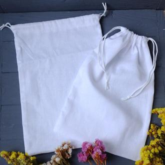 Эко мешочек белый, эко торбочка, еко торба, тканевой многоразовый мешок для продуктов, хранения