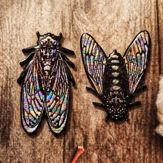 Брошка (значок, пин) Японская цикада (муха, жук, сверчок) деревянный