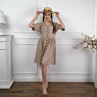 Платье оверсайз из натурального льна цвета капучино