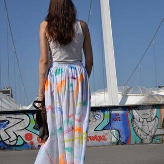 Юбка собственного производства с ручной росписью White Skirt Paint