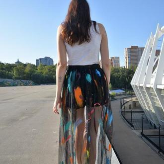 Юбка собственного производства с ручной росписью. Black Skirt Paint