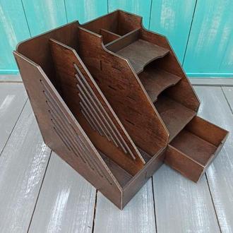 Настольный деревянный органайзер для папок, бумаг и канцелярии