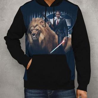 Толстовка с капюшоном Обама на льве