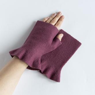 Женские валяные митенки с рюшами Перчатки без пальцев из шерсти