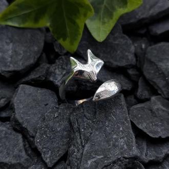 Лисица кольцо в виде морды лисы с хвостом (в наличии 2 шт.)