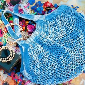 Эко сумка авоська из хлопка сиренево-голубого цвета, большая сумка сетка для покупок