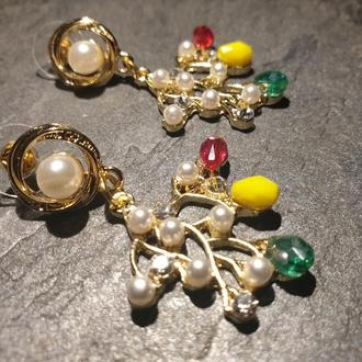 """Дизайнерские серьги с майорикой,кристаллами в позолоте """"Осенние цветы""""🍁🍂💐"""