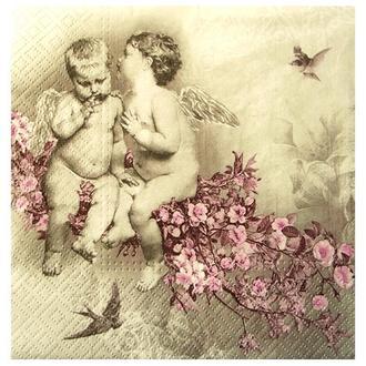 Салфетка Ангелы на цветущей ветке 33 см 2-7139
